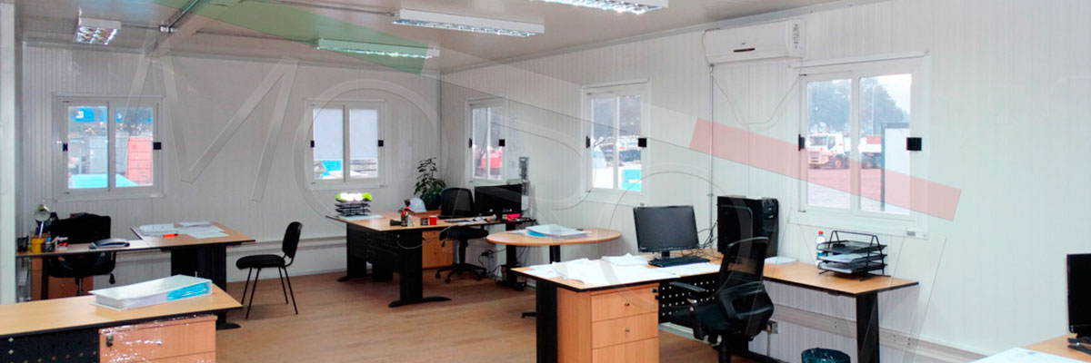 construccion modular de oficina planta libre